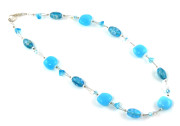 Bellflower Necklace - Pretty turquoise designer glass bead flower necklace