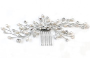 Caroline Comb - Pretty pearl and diamante bridal comb with elegant sprays trailing from a small easy to wear central comb.