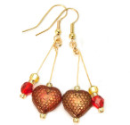 Valentino Earrings - Luscious gold textured red glass bead heart earrings