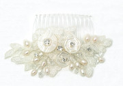 Florence Comb - Limited edition of genuine vintage Mother of Pearl button and lace bridal comb embellished with freshwater pearls and diamante