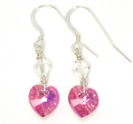 Rose Heart Earrings - Sparkling pretty pink Swarovski crystal heart earrings