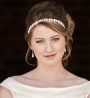 Chloe Headband - Wide Bridal Headband; a bestselling pearl and diamante wedding headpiece design handmade in Shropshire