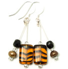 Spiced Ginger Earrings - One of our bestsellers - brown and black striped Spiced Ginger fashion glass bead earrings.