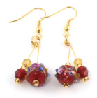 Capri Earrings - Rich red Venetian style glass bead earrings