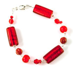 Paso Bracelet - Vibrant cherry red glass bead bracelet