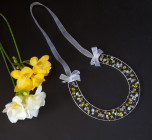 Yellow Crystal Horseshoe - Lucky bridal Swarovski crystal horseshoe in beautiful yellow sunshine colours