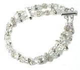 Melissa Bracelet - Simply stunning statement double stranded Swarovski crystal and silver diamante designer bridal bracelet