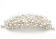Moonlight Tall Comb - Statement bridal comb with a smooth tiara style tapered band of pretty freshwater pearls and crystals