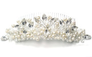 Lily Tiara Comb - Simply stunning Julieann designer pearl and diamante tiara style bridal comb