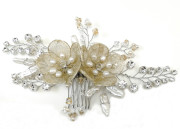 Natasha Comb - Statement bridal comb with stunning mesh flowers in champagne gold. Teamed with unusual stick pearls, tapering sprays of glittering diamante and sprigs of freshwater pearls and pale gold crystals.