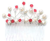 Cherry Comb - Beautiful designer bridesmaids hair comb with delicate frothy sprays of red Swarovski crystals and pearls.