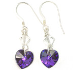 Heliotrope Heart Earrings - Show-stopping deep purple Crystal heart earrings ideal for bridesmaids or for going out.