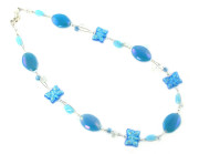 Zante Necklace - Fashion necklace with pretty turquoise glass bead butterflies
