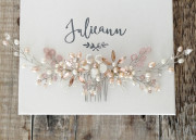 Cherry Blossom Garland - Blush bridal garland on a small comb. Luxurious real pearl flowers, sparkling blush floral details and ivory with pale pink sprays.