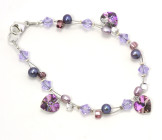 Lilac Vitrail Charm Bracelet - Lilac crystal heart charms flash violet, pink and silver in this gorgeous designer fashion bracelet