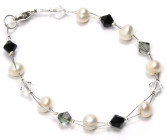 Divine Bracelet - Elegant jet black Swarovski crystal and pearl bridesmaids bracelet. Designed and handmade by Julieann.