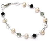 Divine Bracelet - Elegant jet black Swarovski crystal and pearl bridesmaids bracelet. Designed and handmade by Julieann.