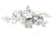 Something Blue Bridal Comb - Ivory silk velvet flowers teamed with sprays of the daintiest glass beads in ivory, silver and soft grey with palest forget-me-not blue highlights. On a small easy to wear comb.