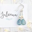 Blue Kyanite Drop Earrings - Unusual earrings handmade in my Shropshire studio from beautiful polished drops of the pale blue gemstone Kyanite.