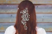 Naomi Bridal Hair Vine - Vertical bridal hair vine with beautiful cascades of pearl and diamante sprays.