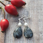 Silver Labradorite Earrings - Drop shaped earrings created from a beautiful gemstone called Labradorite with freshwater pearls and diamante.