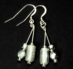 Purity Earrings - Sparkling, shiny, silvery glass bead fashion earrings