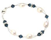 Montana Blue Bracelet - Elegant blue, diamante and pearl bridesmaids bracelet designed and handmade by Julieann