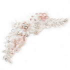 Emily Blush Floral Headpiece - Simply beautiful textured floral bridal hair vine featuring pale blush and ivory flower details hand made from silk velvet, silk crepe and silk chiffon. On hand sewn lace embellished with dainty pearl flowers, glittering diamante and a tiny silver lined glass beads.