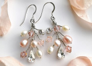 Rebecca Earrings - Blush pearl and antique pink crystal spray bridal earrings. Soft and feminine, statement earrings in pretty pinks.