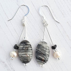 Picasso Stone Earrings - Beautiful black, grey, white designer earrings handmade using semi-precious Picasso Stone and freshwater pearls.