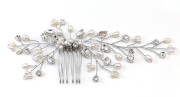 Lianne Bridal Hair Vine - Beautiful hand made asymmetric pearl, diamante and crystal bridal hair vine on a small metal comb.