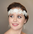 Julia Headband - Lace bridal headband exquisitely hand sewn and lovingly embellished with freshwater pearls, clusters of dainty chiffon flowers and Swarovski crystals