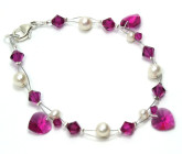 Fuchsia Charm Bracelet - Your bridesmaids will love this pretty bracelet with gorgeous cerise pink crystal heart charms.