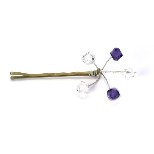Bridesmaid Jewellery Purple Velvet Crystal Grips