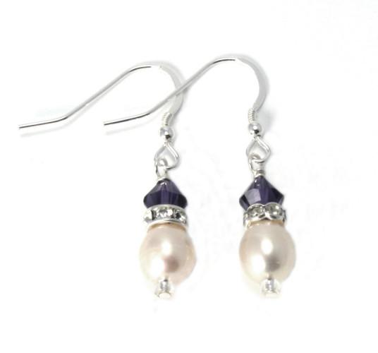 Bridesmaid Jewellery Purple Velvet Pearl Drop Earrings