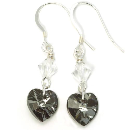 Bridesmaid Jewellery Silver Night Heart Earrings