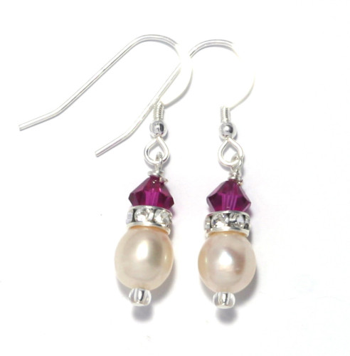 Bridesmaid Jewellery Fuchsia Pearl Earrings