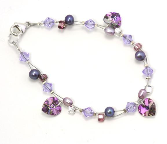 Bridesmaid Jewellery Lilac Vitrail Charm Bracelet