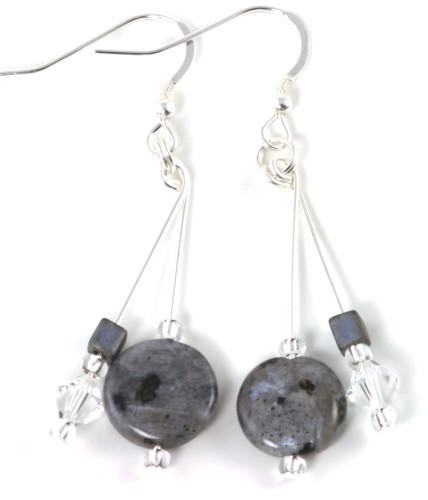 Fashion Jewellery Silver Laboradite Earrings