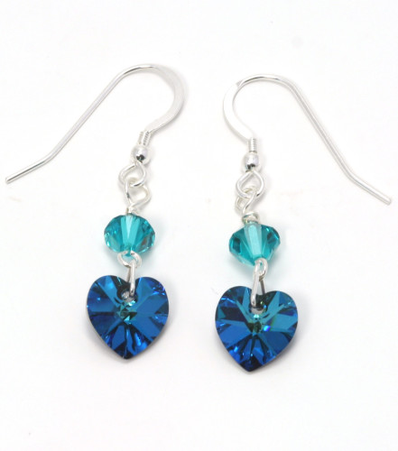 Fashion Jewellery Bermuda Teal Heart Earrings
