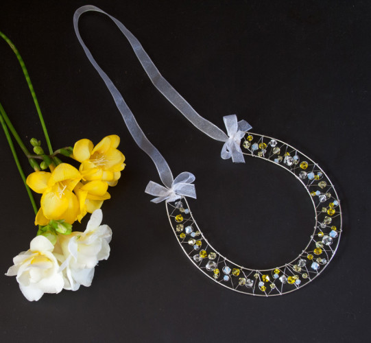Bridal Accessories Yellow Crystal Horseshoe