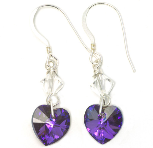 Fashion Jewellery Heliotrope Heart Earrings