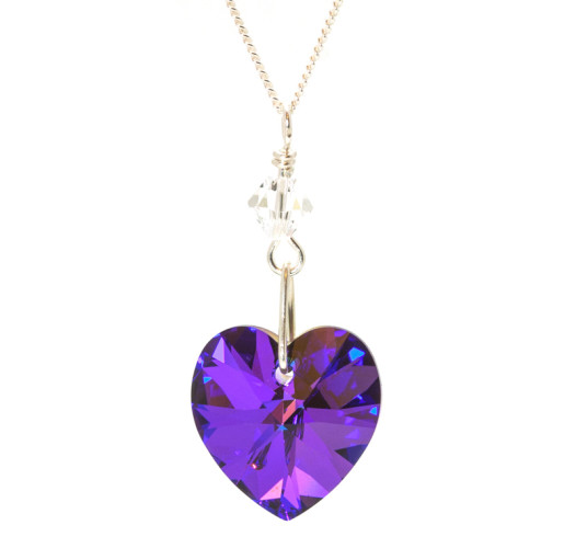 Bridesmaid Jewellery Heliotrope Heart Necklace