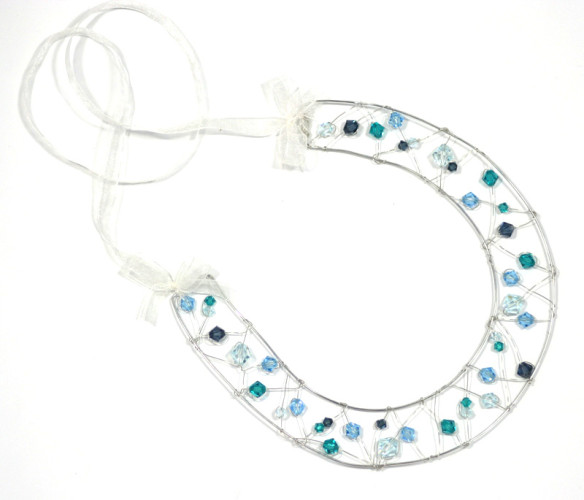 Bridal Accessories Teal Crystal Horseshoe