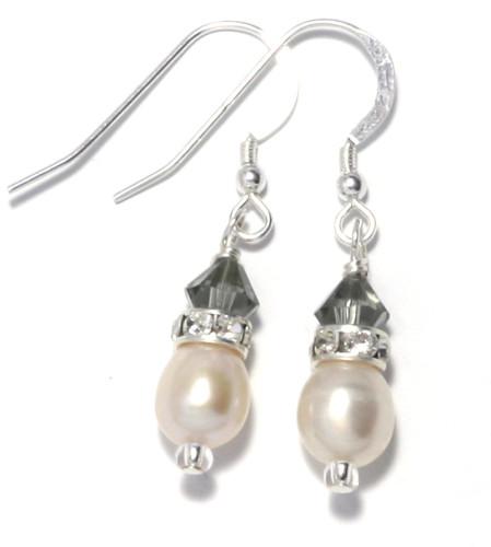 Bridesmaid Jewellery Charcoal Pearl Earrings