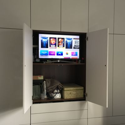 TV space in centre of bedroom wardrobe