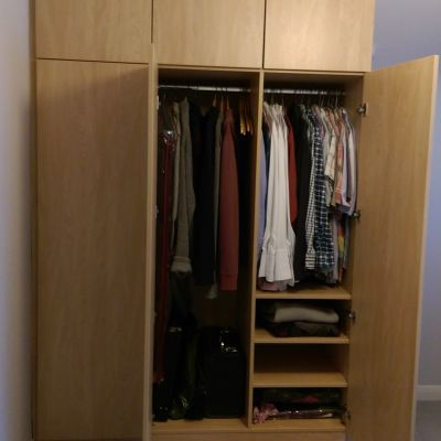 angled wardrobe natural montana oak open doors