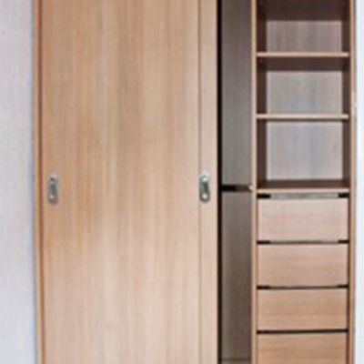 sliding door and shelves