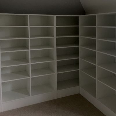 walk in wardrobe shelves in white