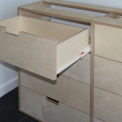 Birch Ply drawer with Blum STANDARD drawer runner